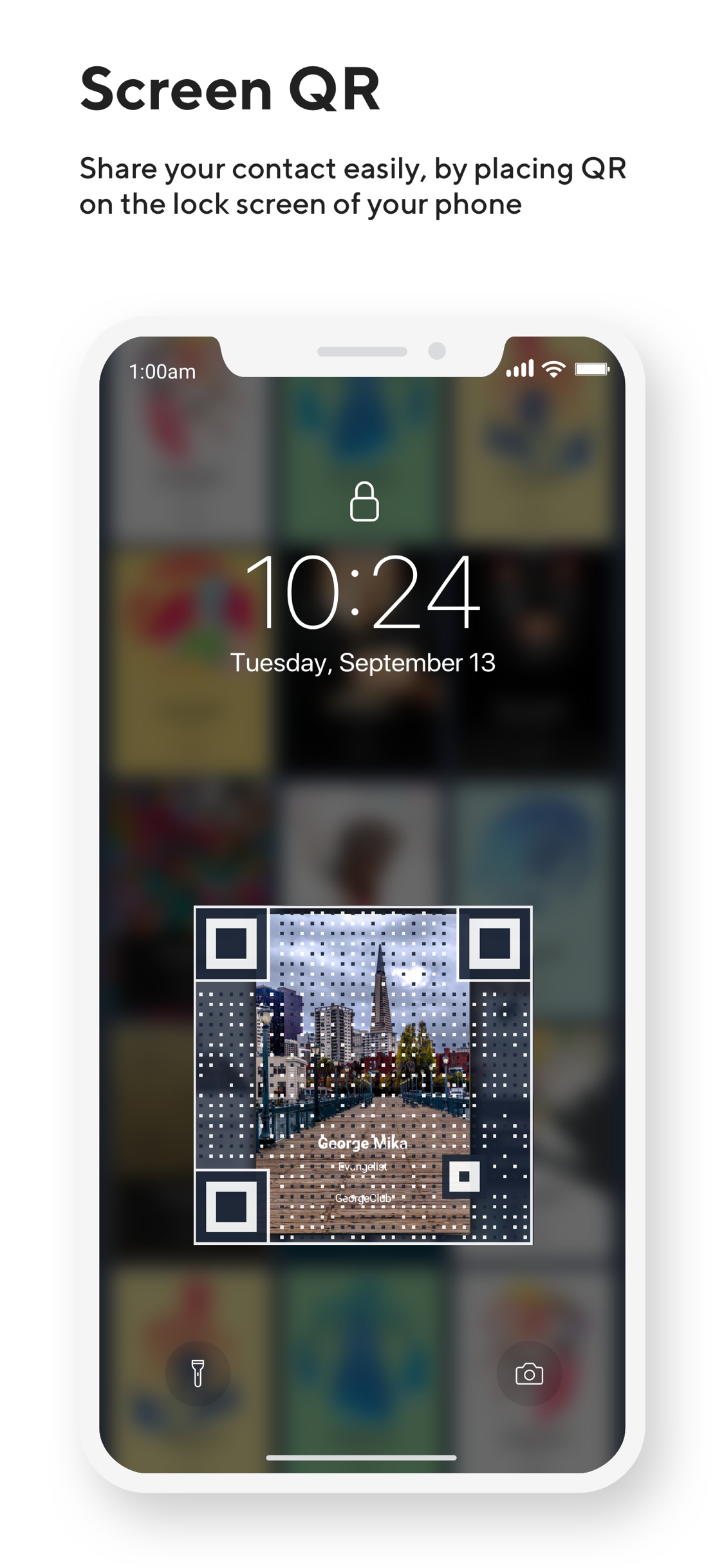 photo Lock Screen QR code